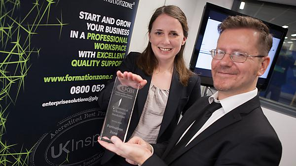 Presentation of Achievement in Business Incubation award by Keiron Broadbent from UKBI to Formation Zone