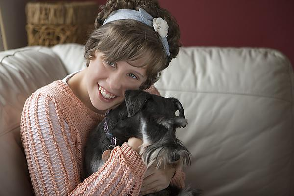 Jasmine Bayly, 15, and her dog Pepsie