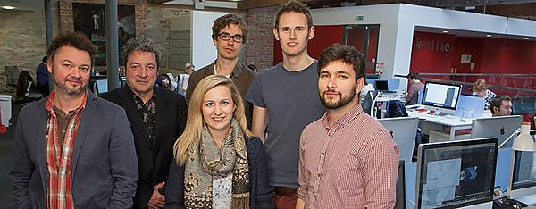 Neil Bennett, Academy Director with Mervyn Orchard, Director, Bluestone360 and Shelle Cox, Graphic Designer, Luke Hopkins, Web Developer, John Downie, Digital Developer and Kyle Borlase, Graphic Designer