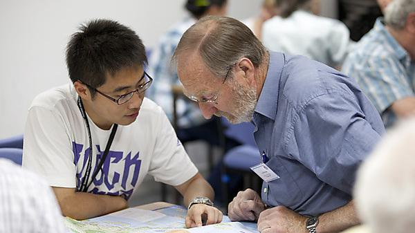 A member of the University of the Third Age mentoring a Plymouth University student.