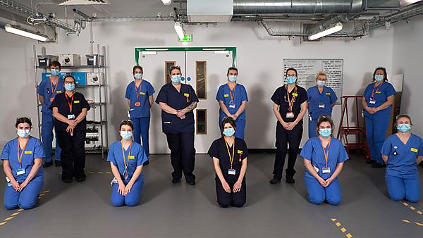 Some of the students who volunteered to care for COVID-19 patients at the RD&E's Exeter Nightingale Hospital