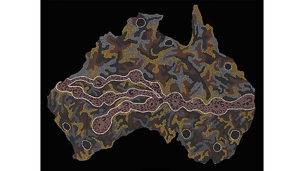 Seven Sisters Songline 1994by Josephine Mick, Ninuku Arts© the artist/Copyright Agency 2020.Image: National Museum of Australia