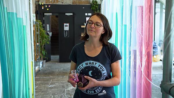Dr Kate Crawfurd with the Ocean Organ