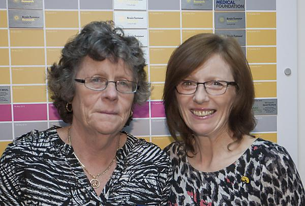 Judith McMahon with Carol Robertson, Head of Community Fundraising at Brain Tumour Research