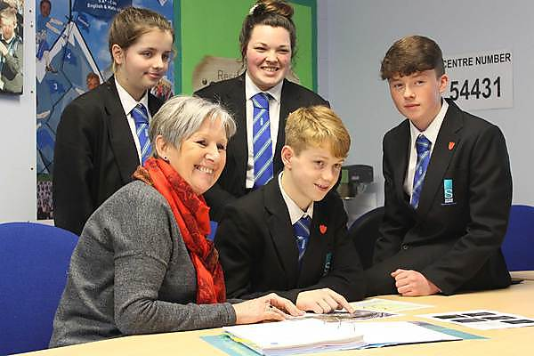 Principal carol Hannaford and students from Stoke Damerel Community College