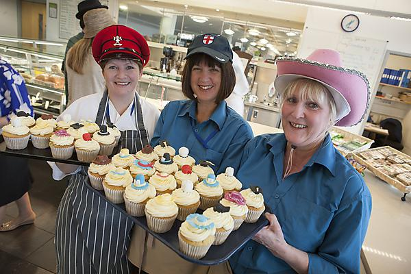 Staff from Plymouth University Peninsula Schools of Medicine and Dentistry wear hats and bake for Brain Tumour Research