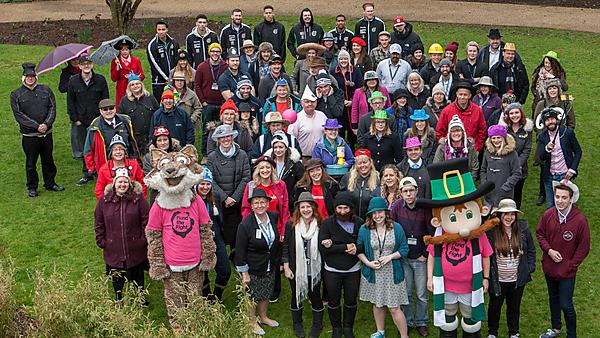 Plymouth University staff and friends gathered at Drake's Place to celebrate Brain Tumour Research Wear A Hat Day on 27 March 2015