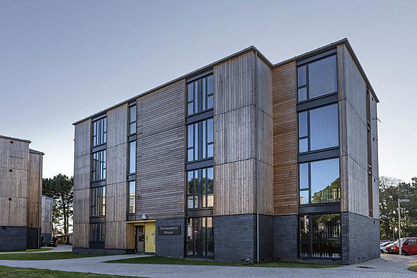 The modern exterior of Treliske halls of residence in Truro.