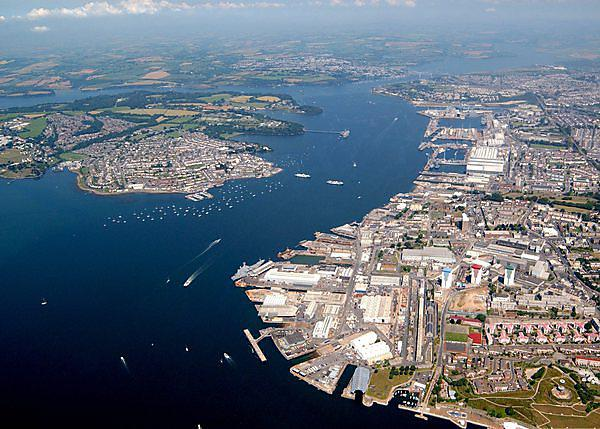 An aerial photograph of Plymouth naval base. Photo: LA(PHOT) Paul A'Barrow./MOD [OGL (http://www.nationalarchives.gov.uk/doc/open-government-licence/version/1/)], via Wikimedia Commons