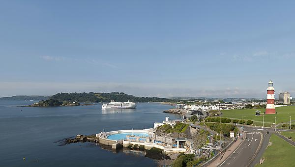 Plymouth Hoe showing Plymouth Sound
