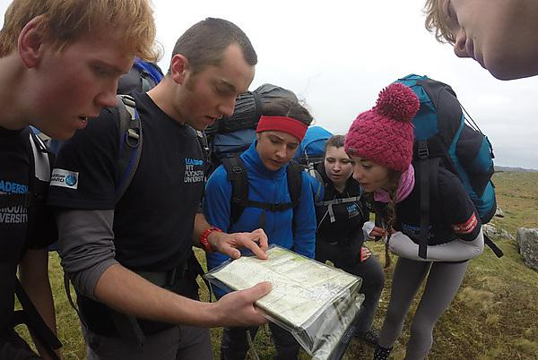 Team navigating their way across Dartmoor on an ETE Leadership Award programme