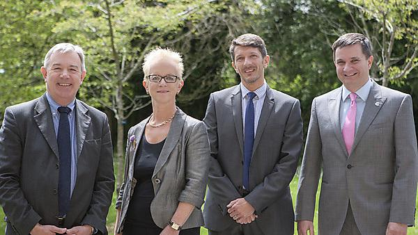 Expert judges of the dental student community projects. Left to right: Stephen Hancocks OBE, Bridget Ashton, Rob Nelder and Kevin Elliston