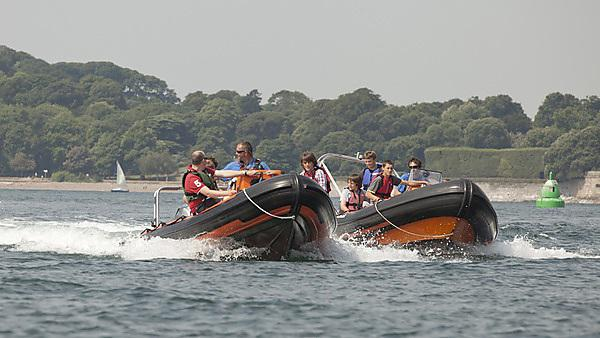 UTC students on induction - powerboating at Mount Batten Centre
