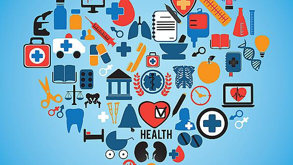 Abstract concept of medicine Medical icons texture in heart shape composition background - vector illustration, courtesy of Shutterstock, copyright Max Griboedov