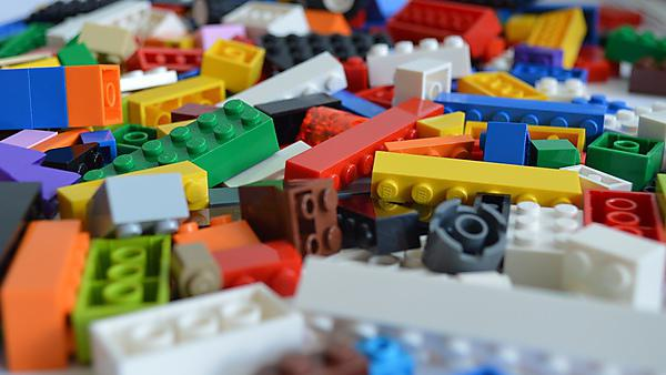 A field of multicoloured Lego pieces