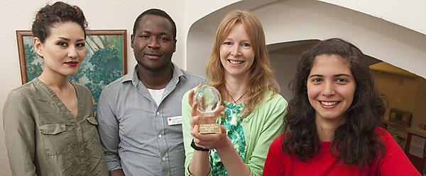 From left: Student Ellie Sabet, law graduate David Feindouno (now Refugee Services Coordinator at the British Red Cross), Plymouth Law Clinic Director Rosie Brennan, and student Duha Almussadar
