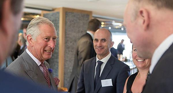 HRH The Prince of Wales talks to Professor of Marine Biology Richard Thompson (far right)