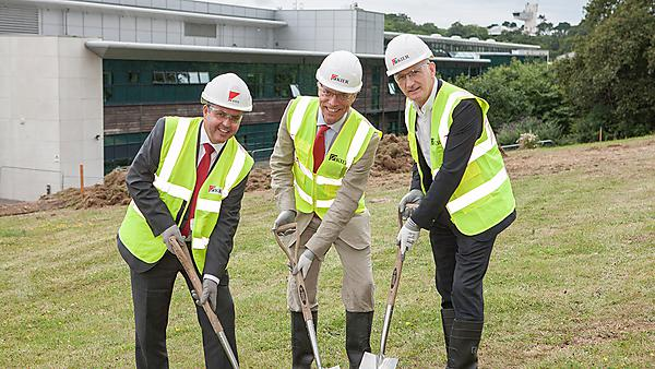 Professor David Coslett, Vice-Chancellor of Plymouth University (right) with Professor Robert Sneyd, Dean of Plymouth University Peninsula Schools of Medicine and Dentistry (centre) and Brian Rice, Operations Director for Devon and Cornwall at Kier (left)