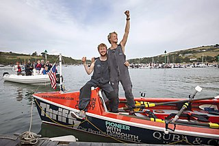Ocean Rowing duo Tom Rainey and Lawrence Walters on their boat Yves