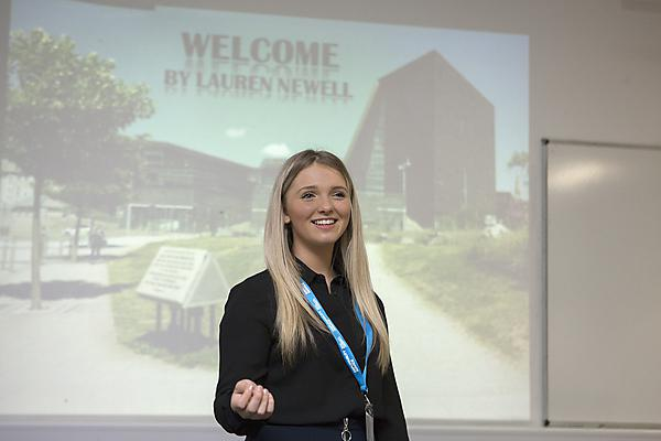 Lauren Newell giving her end of placement presentation