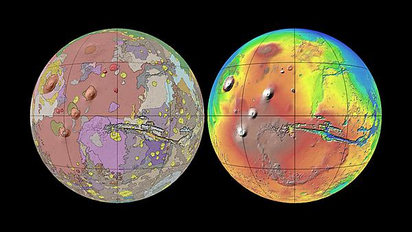 The USGS/NASA image of the current geological map for Mars wrapped on the globe compared to MOLA (mission) data for topographical relief