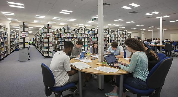 Library group studying around a table
