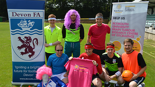 Members of the Devon FA team who are taking part in the Men's Health Survival of the Fittest challenge for Brain Tumour Research