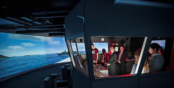 Plymouth University welcomes the Secretary General from the International Maritime Organisation, Koji Sekimizu, to try out its ship simulator earlier this year
