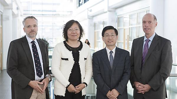 From left to right: Professor Oliver Hanemann, Associate Dean Research, PUPSMD, Dr Kai Yang, Director of Education and Professor Yuxing Bai, Dean, both of the School of Stomatology, Capital Medical University, and Professor Robert Sneyd, Dean, PUPSMD